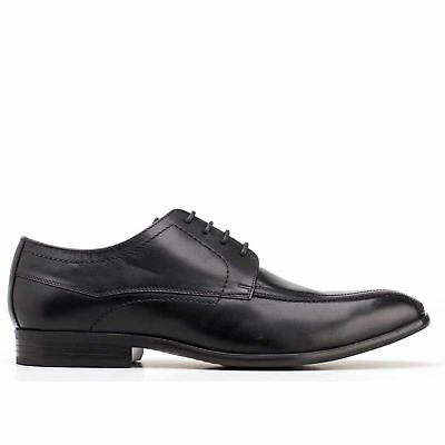 faf35de60f0 Base London GILMORE Mens Waxy Leather Lace Up Formal Smart Derby Shoes Black