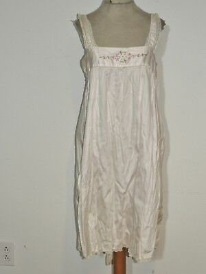 1920's Pink Cotton w Embroidery & Lace Step In Teddy / Slip / Cami MED