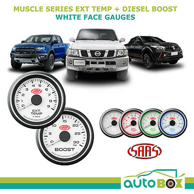 SAAS Muscle Series Pyro EGT and Diesel Boost 52mm Analog Gauge Combo White Face