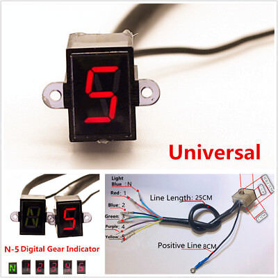Universal N-5 Speed Digital Gear Display Indicator Motorcycle Shift Lever Sensor