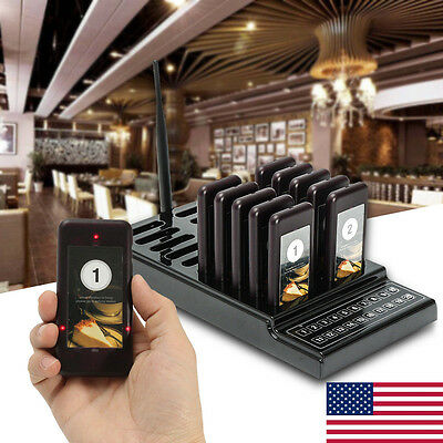 Restaurant Wireless Coaster 10 Pagers Guest Waiter Call Paging Queuing System US