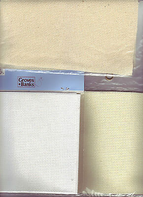 NEW 14 Count Aida Cross Stitch Fabric White, Ivory, Cream Choose Colour and Size
