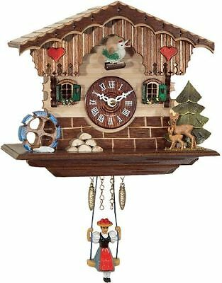 Engstler 189 Sq Miniature Black Forest Clock with Battery-Powered Quartzwerk