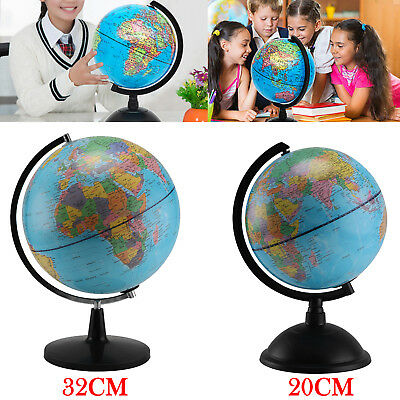 """Rotating Earth Globe World Map Swivel Stand Geography Educational Toy 20""""32""""cm"""