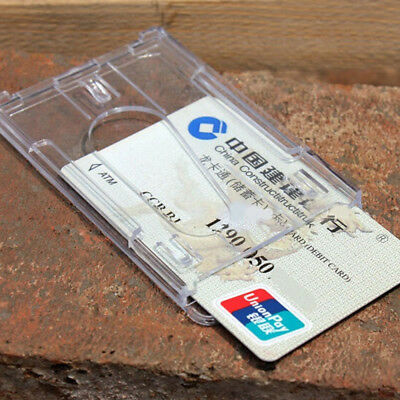 Hard Plastic Protect ID Access Cover Credit Card Case Badge Holder Double Side