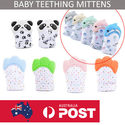 TEETHING MITTEN SILICONE BABY TEETHER Mitt Glove Safe BPA Free Chew Dummy Toy AU