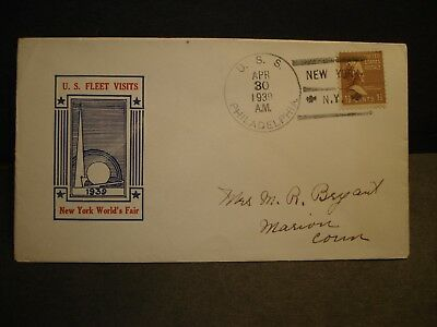 USS PHILADELPHIA CL-41 Naval Cover 1939 NY WORLD's FAIR Cachet