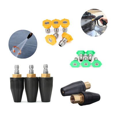 High Pressure Washer Cleaner Spray Gun Rotating Turbo Nozzle Quick Connect Tip