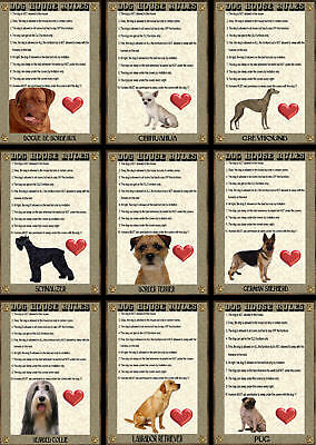 House Rules Dog Signs Various Breeds set1