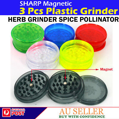 SHARP PLASTIC TEETH 3 PCS TOBACCO 60mm  HERB GRINDER CRUSHER  SPICE POLLINATOR