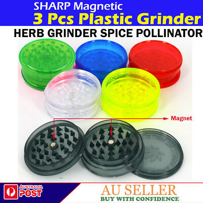 Sharp Plastic Teeth 3Pcs Tobacco 60mm Herb Grinder Crusher Spice Pollinator **AU