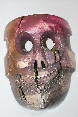 413 COLORED DEATH MEXICAN WOODEN MASK skull calavera hand painted artesania