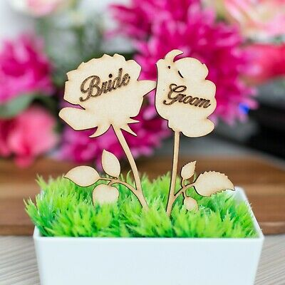 Personalised Wooden MDF Wedding Table Decor Name Place Cards Rose flower