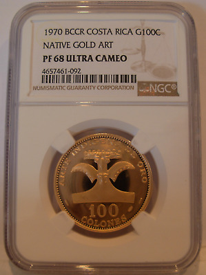 Costa Rica 1970 BCCR Gold 100 Colones NGC PF-68UC Native Gold Art