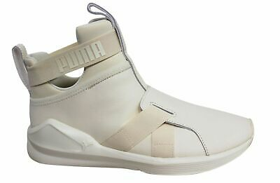 Puma Fierce Strap Leather Textile Whisper White Womens Trainers 190569 02  M15 8544cae33