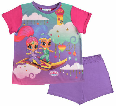 Shimmer And Shine Pyjamas Girls Pink Shortie Character Set T Shirt + Shorts Size