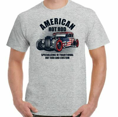 d3fbf0310 AMERICAN HOT ROD Mens T-Shirt Classic USA Gas Custom Car Enthusiast ...