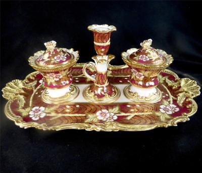 C1830 Antique English Rococo Porcelain Inkstand Desk Stand Coalport
