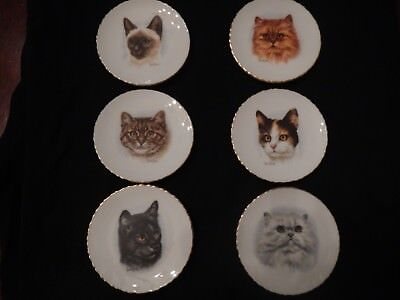 "Derick Bown Set of 6 Cat Plates, Excellent Condition,  3 1/2"" w/ Gold Trim"