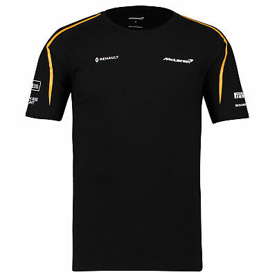 Official McLaren 2018 Team Set Up T Shirt Tee Top Black Mens F1