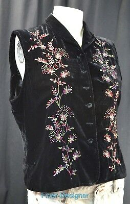 Coldwater Creek CWC lined button embroidered velvet vest top sleeveless SZ M NEW