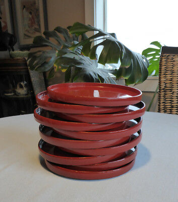 Vintage Japanese Red Lacquered Wood Plates, Lot of 10