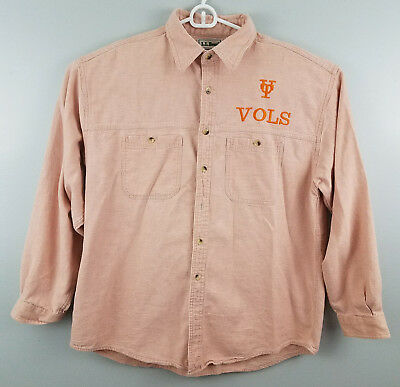 LL Bean Heavy Button Down Shirt Large Mens Long Sleeve Embroidered UT Vols Logo