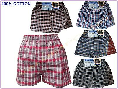 3 or 6 pairs MENS 100% COTTON CHECKED WOVEN LOOSE FIT BOXER SHORTS UNDERWEAR NEW