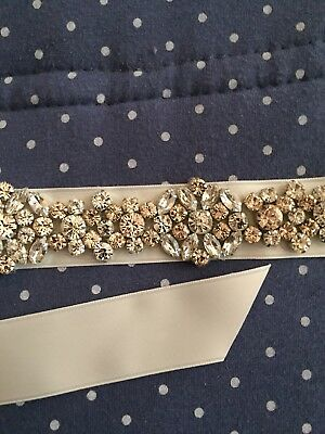 Ivory Wedding Bridal Sash/Belt Beaded Swarovski Crystals