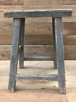 Antique Chinese Elm Wood Farm Stool with Old Gray Paint