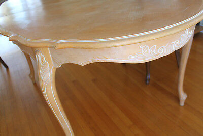 Carved French Provincial Dining Table Solid Wood with leaf made in Quebec