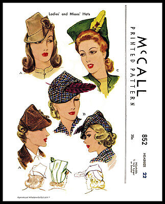 Unique Millinery Stunning Fascinator Hats Fabric Pattern VTG 1940s McCALL # 852