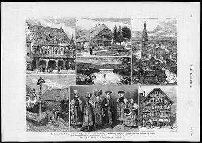 1882 Antique Print - GERMANY BLACK FOREST FREIBURG CATHEDRAL RIVER RHINE  (226)