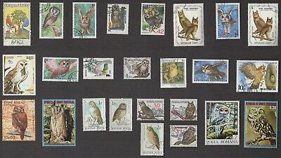 25 OWLS All Different Stamps (BIRDS) (C78)