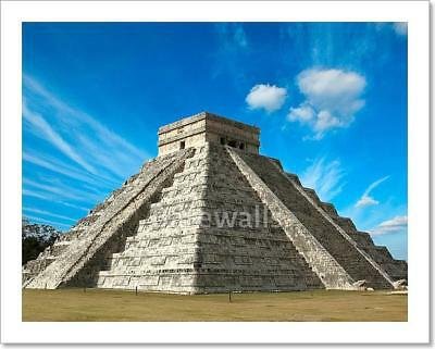 Mayan Pyramid In Chichen-Itza, Mexico Art Print Home Decor Wall Art Poster - D