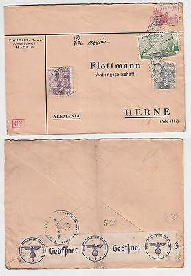 65738 seltener Zensur Post Brief von Madrid Spanien nach Herne in Westf. 1940