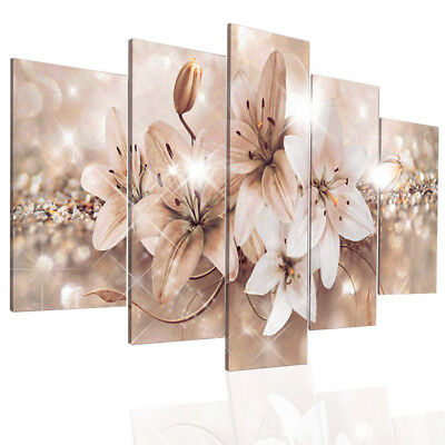 5 Panels Modern Abstract Flowers Pictures Canvas Wall Art Prints Unframed Deco