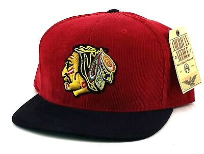 2ae59fcf268 Chicago Blackhawks New American Needle Red Black Corduroy Era Strapback Hat  Cap