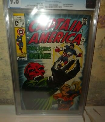 Marvel comics Captain America CGC 9.6 Red skull appearance classic cover 1969