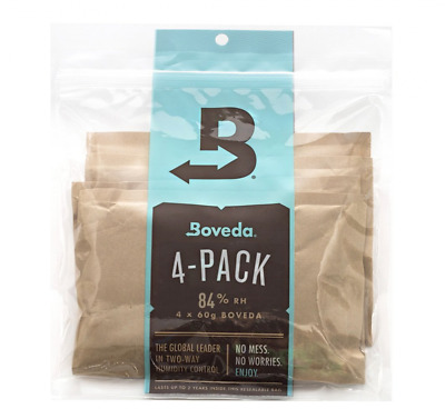 Boveda 84% RH 2-Way Humidity for Cigar Humidor Seasoning, 4-Pack, 60 Gram Packet