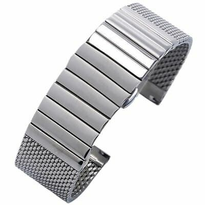 Silver/Black Stainless Steel Watch Band Strap 20/22mm Milanese Mesh Web+Strip