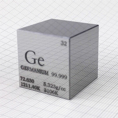 1 inch 25.4mm HAND-POLISHED Germanium Metal Cube 99.999% Engraved Periodic Table