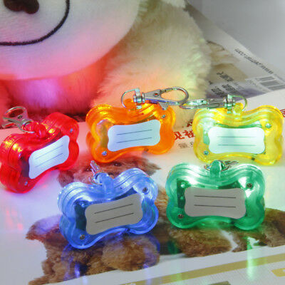 Pet Dog Cat Bone Shape Luminous Flashing Glow In Dark Light LED Collar Pendant
