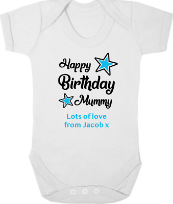 HAPPY BIRTHDAY MUMMY Baby Bodysuit/Grow/Vest/Romper, I Love Mummy, Birthday Gift