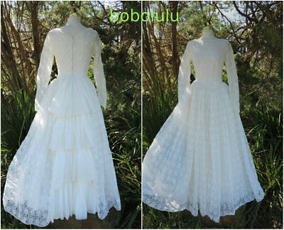 VINTAGE 1950s WEDDING DRESS FULL SKIRT FAIRY TALE BRIDAL GOWN LACE LONG UK 8/10