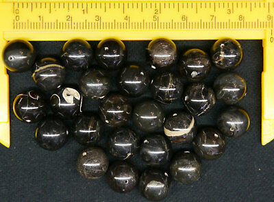 Black fossil wood Beads for Woman Jewelry, Cretaceous, Russia