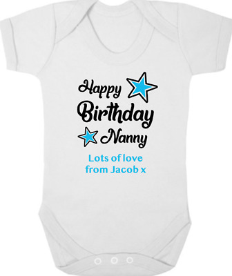HAPPY BIRTHDAY NANNY Baby Bodysuit/Grow/Vest/Romper, I Love Nanny, Birthday Gift