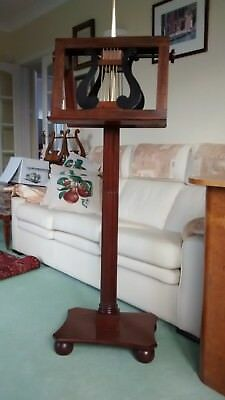 Music stand in mahogany - Duet stand with adjustable height desk