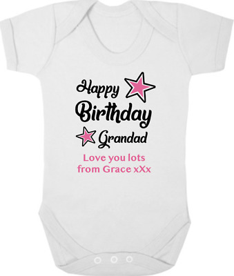 HAPPY BIRTHDAY GRANDAD Baby Bodysuit/Grow/Vest/, I Love GRANDAD, Birthday Gift