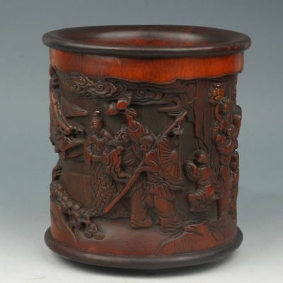 China Exquisite Hand-carved mythology figure carving bamboo Pen holder statue
